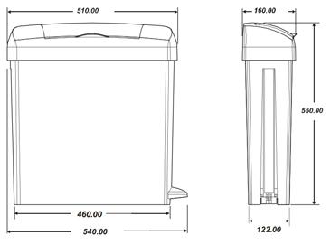 sanitary bin waste collection bin dimensions